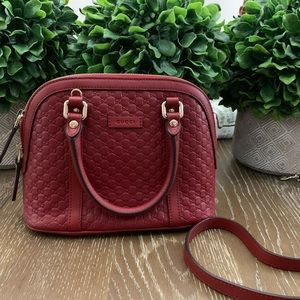 Red Gucci Leather Bag w/ Strap (microguccissimi)